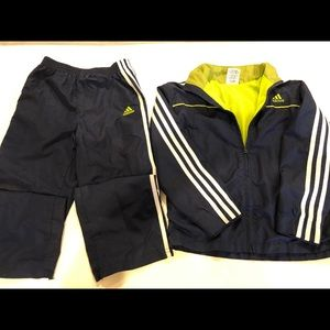 Kids Adidas Track Suit sz 7 Navy Blue / Lime Green